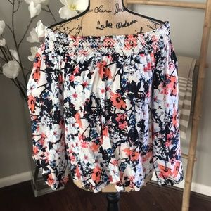 Parker off the Shoulder floral blouse